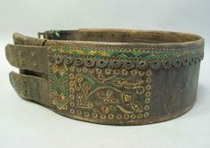 Leather belt from Transylvania, called tüsző. Handmade embroidery using leather thread. Leather Thread, Leather Art, Folk Clothing, Belt, Embroidery, Hungary, Spinning, Bracelets, Handmade