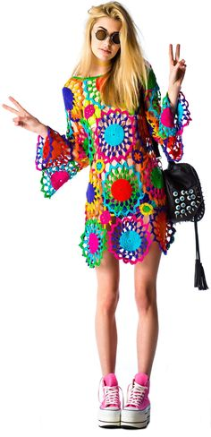 Crochet colorful flower patterns to make a cute beach dress; I love the colors and sleeves!
