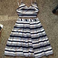 2 piece, navy stripped crop top & skirt Crop top & matching skirt, white and navy blue. Worn once. Forever 21 Dresses