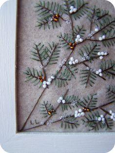 gorgeous embroidery!!  Winter Cardinal Felt Wall Art by thetinygarden, via Flickr