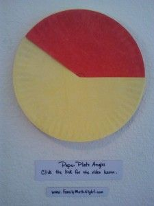 Paper Plate Angles: A fun way to teach and reinforce angle measurement.  Click the link for the video lesson.  Meets CCSS: 4.MD.5; 4.MD.6  and TEKS:  4th grade GM6B, GM7A, GM7B, GM7C, GM7D, GM7E  www.familymathnight.com