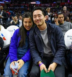 New parents: The Walking Dead's Steven Yeun and new bride Joana Pak welcomed their first baby on St Patrick's Day