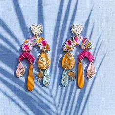 Macrame Earrings, Diy Earrings, Polymer Clay Earrings, Earrings Handmade, Polymer Clay Crafts, Diy Clay, Ceramic Jewelry, Clay Jewelry, Diy Jewellery
