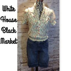 WHITE HOUSE BLACK MARKET DENIM BERMUDAS These are super cute Bermudas in gently used condition White House Black Market Shorts Jean Shorts