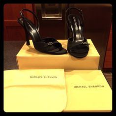"""Like New Michael Shannon Cocktail Pumps! Gently worn (once, maybe twice!) Michael Shannon evening heels. No Damage to either shoe inside or out. Very minimal scuffing on the bottoms. Very well kept. Shoes come in original box, where they have always been stored and with their original bag. Heel is approximately 3.5"""". Adorable cocktail shoe of wedding attire. Michael Shannon Shoes Heels"""