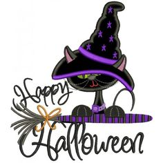 Happy Halloween Black Cat Witch on a Broom Halloween Applique Machine Embroidery Digitized Design Pattern