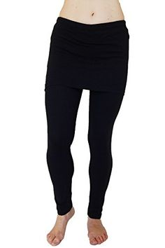 df0df4762a2a22 N 365 Women's Full Length Skirted Leggings-Black. attached mini skirt with  elastic waist. every day athletic wear.