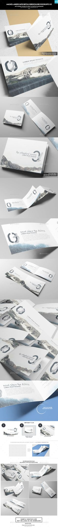 A4/ A5 Landscape Bifold Brochure Mockups V2 — Photoshop PSD #template #a4 • Available here → https://graphicriver.net/item/a4-a5-landscape-bifold-brochure-mockups-v2/17845752?ref=pxcr