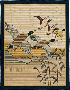 Mallards in Flight - Hand Hooked Grenfell Rug |  The design, colors, and construction are based on a documented antique hand-hooked Grenfell rug. This is a one-of-a-kind rug.