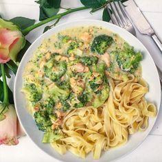 Roomtagliatelle met broccoli en zalm