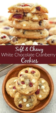 These White Chocolate Cranberry Cookies are incredibly soft, chewy, thick, and full of white chocolate chips and dried cranberries. Perfect for your holiday cookie tray! Soft and Chewy White Chocolate Cranberry Cookies Jessica White Chocolate Cranberry Cookies, White Chocolate Chips, White Chocolate Recipes, White Chocolate Brownies, Chocolate Kisses, White Chocolate Raspberry, Chocolate Cookie Recipes, Chocolate Pudding, Holiday Baking