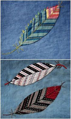 Federn - applique and embroiderycool idea, CUT STRIPED FABRIC, and applique on the diagonal - to create the leaf motif, the embroider over top.Hand Embroidered Crazy Quilt Feathers * Perfect way to also incorporate little bits of vintage materials * Fabric Art, Fabric Crafts, Sewing Crafts, Sewing Projects, Sewing Hacks, Scrap Fabric, Applique Quilts, Embroidery Applique, Embroidery Stitches