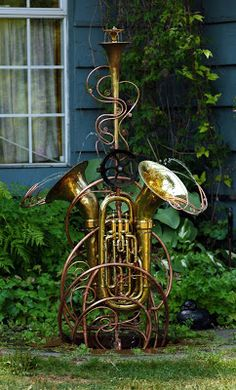 Waterworks Garden Art by Douglas Walker made from MUSICAL INSTRUMENTS