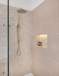 Upstairs Bathrooms, Downstairs Bathroom, Bathroom Renos, Laundry In Bathroom, Gold Bathroom, Penny Round Tiles, Penny Tile, Bathroom Design Small, Bathroom Interior Design
