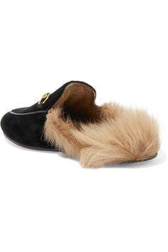 Gucci - Horsebit-detailed Shearling-lined Velvet Slippers - Black - IT36.5