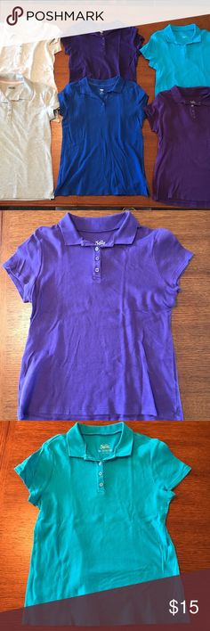 Group of 6 girls justice & old navy polo shirts Group of six collar/polo type shirts all size 14 or juniors small. Purple and royal blue shirts from old navy- size 14 girls, purple and light blue (teal) shirts from justice- size 14 girls, one gray shirt from old navy- size small, and the other gray shirt brand basic editions size small. The two size small shirts are larger than the size 14s but are pretty similar. No stains or holes, selling as a lot of all 6- perfect for school uniforms…