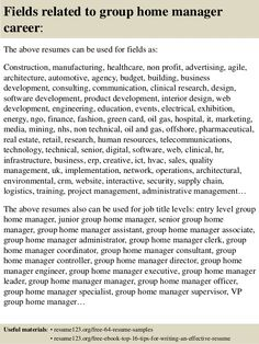 Top Group Home Manager Resume Samples Receptionist House Sample Career
