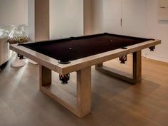 The James De Wulf Indoor Concrete Pool Table is a modern pool table for the ages. Comprised of a solid concrete top and steel frame - and boasting felt and blac Diy Pool Table, Outdoor Pool Table, Custom Pool Tables, Pool Table Room, Diy Table, Indoor Outdoor, Modern Game Tables, Modern Games, Billard Design