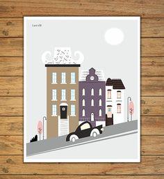 Lámina ciudad laminas a4 poster casas poster por Ilustracionymas