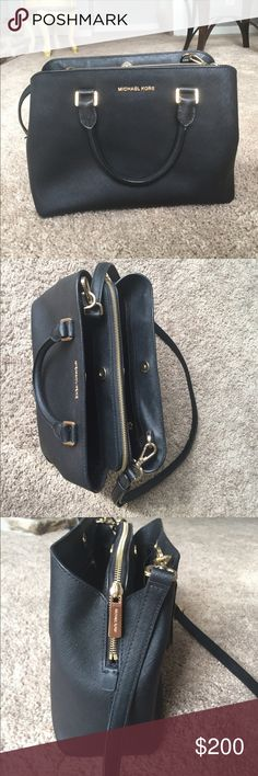 Black Michael Kors Leather Satchel Savannah Large Saffiano Leather Satchel, 5 inside pocket, one large pocket in the middle, gold hardware, should strap attached, used 3 times, like new condition, zero marks or scratches. MICHAEL Michael Kors Bags Satchels