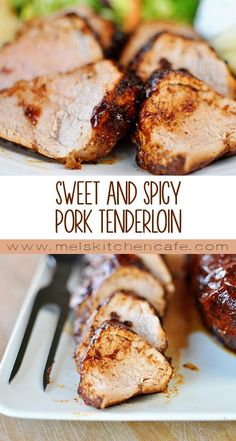 This succulent and tender sweet and spicy pork tenderloin has a BBQ flair and it is beyond fantastic. Sweet and Spicy Pork Tenderloin - This pork tenderloin is slightly sweet, slightly spicy and completely delicious. Pork Chop Recipes, Meat Recipes, Cooking Recipes, Dinner Recipes, Easy Pork Tenderloin Recipes, Pork Filet Recipes, Boneless Pork Loin Recipes, Recipies, Spicy Recipes
