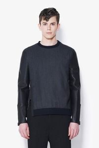 3.1 PHILLIP LIM   SLIM FIT CREWNECK PULLOVER WITH LEATHER COMBO SLEEVES