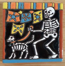 """1~MEXICAN Hi Relief TALAVERA TILE POTTERY 4"""" Day of the Dead Man skeleton dog"""