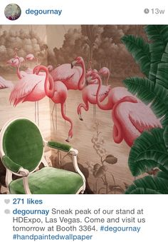 Another view of the divine de Gournay flamingos wallpaper. Zuber Wallpaper, De Gournay Wallpaper, Home Wallpaper, Wall Paint Inspiration, Flamingo Wallpaper, Colorful Wallpaper, Green Interior Design, Hand Painted Wallpaper, Stunning Wallpapers