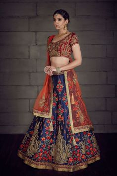 - Pure raw silk lehenga choli and net dupatta embellished with resham, lace and stone work. Raw Silk Lehenga, Blue Lehenga, Lehenga Choli, Pakistani Dresses, Indian Dresses, Indian Outfits, Indian Clothes, Bridal Outfits, Bridal Dresses