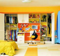 Lots of idea here:  desk in closet, bright colors -- An option for a Boys or Girls closet
