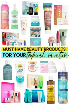 The best beauty products for a tropical vacation covers everything from SPF's to aloes to haircare (and more) and will have you sporting your best skin. Travel Set, Travel Gifts, Travel Style, Beach Travel, Beach Trip, Beach Vacation Packing, Vacation Deals, Vacation Style, Florida Vacation