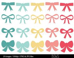 Digital Bow Clipart Clip Art Bows Ribbon Pink by mintprintables, $4.00