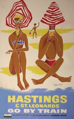 Hastings, East Sussex, England vintage travel advert / poster Royston Cooper