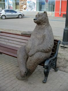Russian bear in the city