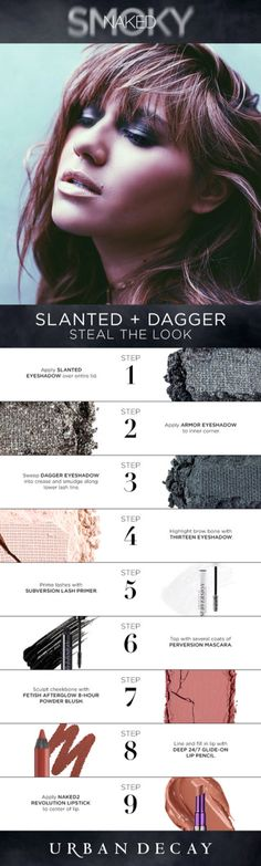 Naked Smoky: Slanted (lid), Armor (inner corner), Dagger (crease, lower lashline), Thirteen (browbone)