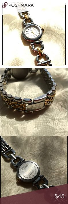 Coach Bracelet Dress Watch Authentic Need a new battery. Otherwise works perfect! Silver and yellow gold tones. I do not have spare link chains and a box also no longer an  evidence for certification. Come with only a wrist watch. Accessories Watches