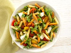 Recipe Barilla Tri-Color Penne Pasta Salad with Arugula, Cherry Tomatoes, Chives, and Fresh Mozzarella