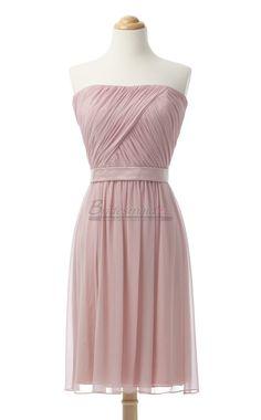 Short Chiffon Strapless Pearl Pink Bridesmaid Dress