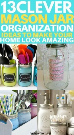 Completely organize your home using mason jars. I am sharing with you my favorite DIY mason jar organizer ideas to make your home look and feel incredibly organized. These ideas include kitchen, bathroom, bedroom, pantry and desk organization ideas using mason jars. #masonjars #masonjar #masonjarorganization #organization #diyhomedecorideas #masonjarcrafts