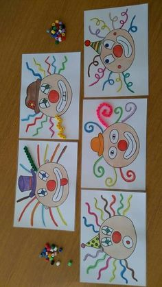, arts and crafts for kids easy Clown Crafts, Circus Crafts, Carnival Crafts, Circus Art, Projects For Kids, Art Projects, Crafts For Kids, Arts And Crafts, Paper Crafts