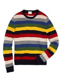 Lambswool Multistripe Crewneck Sweater | Brooks Brothers