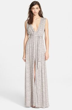 L'AGENCE Pleated Print Maxi Dress