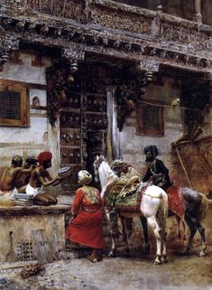 Craftsman Selling Cases By A Teak Wood Building Ahmedabad Painting by Edwin Lord Weeks. American artist, painter and explorer, was born at Boston, Massachusetts, in Empire Ottoman, Arabian Art, Most Famous Paintings, Vintage India, Building Art, Indian Paintings, Vintage Paintings, Classical Art, Love Painting