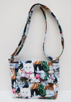 Multi Cats Gray, Cross Body Black Purse, Handmade Fabric Purse, Shoulder Bag…