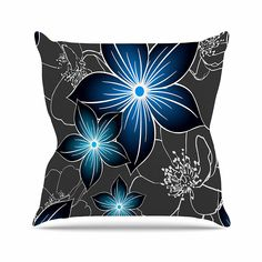 KESS InHouse AC1081AOP03 18 x 18-Inch 'Alison Coxon Charcoal And Cobalt Grey Blue' Outdoor Throw Cushion - Multi-Colour -- Click on the image for additional details. (This is an affiliate link) #GardenFurnitureandAccessories