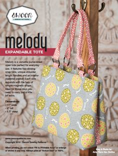 Swoon Sewing patterns $5.95 Melody expandable tote