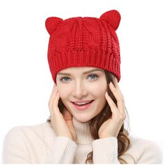 cb8a4662c6902 Women s Hat Cat Ear Crochet Braided Knit Caps