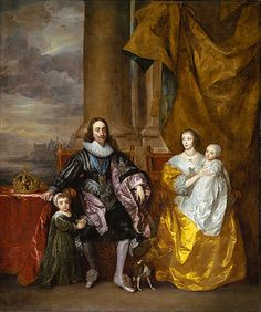 Van Dyck's portrait of Charles I and Henrietta Maria and their two eldest children (The Greate Peece) from 1632. The painting is part of the Royal Collection