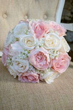 Romantic wedding bouquet of ivory and blush pink silk. Made with : Romantic wedding bouquet of ivory and blush pink silk. Silk Bridal Bouquet, Blush Bouquet, Silk Wedding Bouquets, Bride Bouquets, Flower Bouquet Wedding, Bridesmaid Bouquet, Bouquet Flowers, Wedding Blush, Prom Flowers