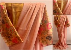 Sleeve detail.....Blush Pink Shimmer Georgette saree paired with gold unstitched blouse.